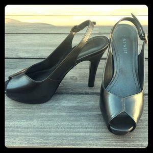 Nine West Grey Patent Slingback Open toe Heels